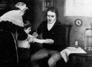 天然痘ウイルスのワクチンを接種するエドワード・ジェンナー